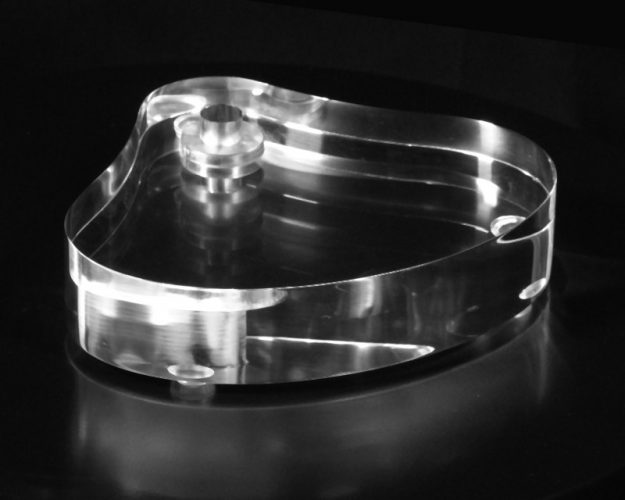 """Oval Acrylic Lamp Base with Figurine Bump 1.25"""" Thick"""