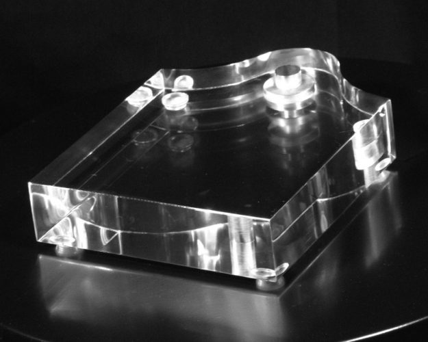 """Square Acrylic Lamp Base with Figurine Bump 1.25"""" Thick"""