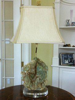 Custom Jade Carving on Acrylic Lamp Base