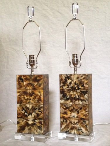 Custom Hand Painted Faux Tortoise Shell Lamps on Acrylic Bases