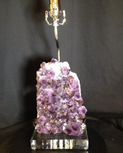 Custom Amethyst Quartz Lamp on Acrylic Base